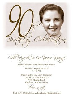90th Birthday Party Invitation 90th party Pinterest 90th