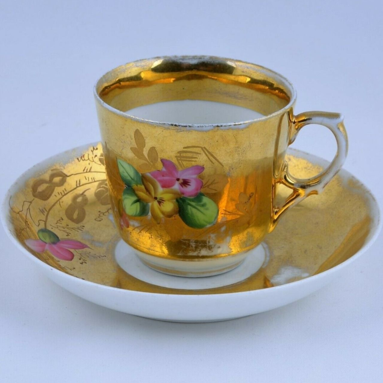 19th Century Antique Russian Kuznetsov Cup and Saucer #diningroomdecor