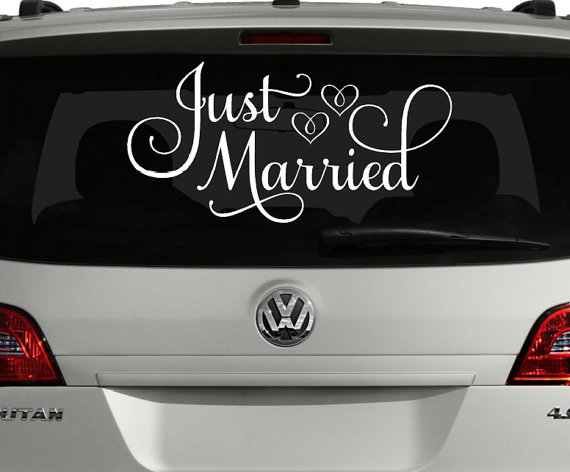Just married car decal just married sign for car wedding just married car decal just married sign for car wedding decoration wedding car decoration wedding car decal custom just married sign junglespirit Image collections