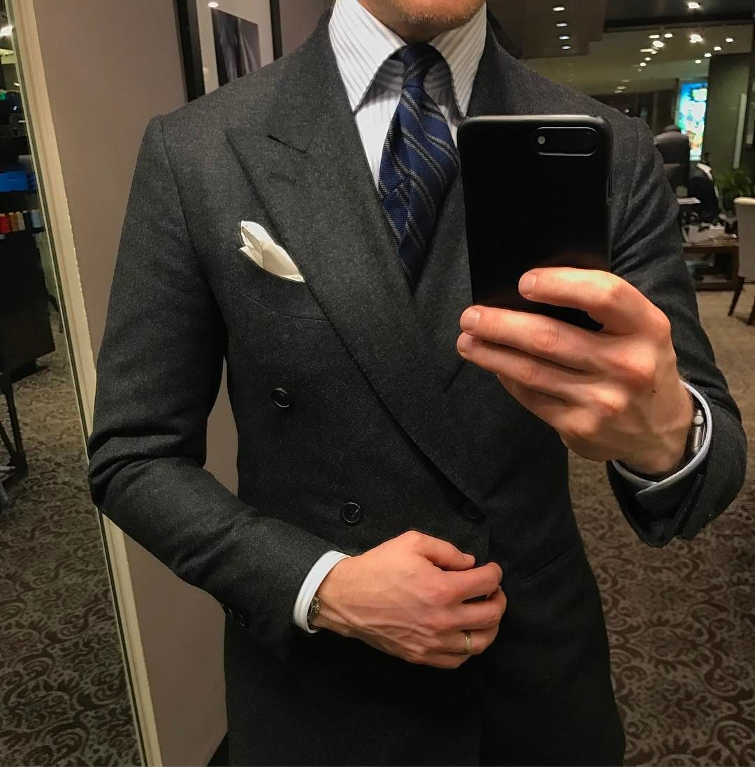 Mr. Derek Bleazard Chacoal double breasted flannel suit. Light ...