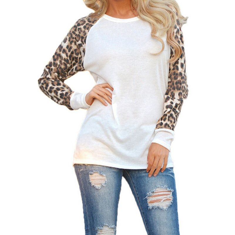Leopard Sleeves Casual Blouse (3 Colors)