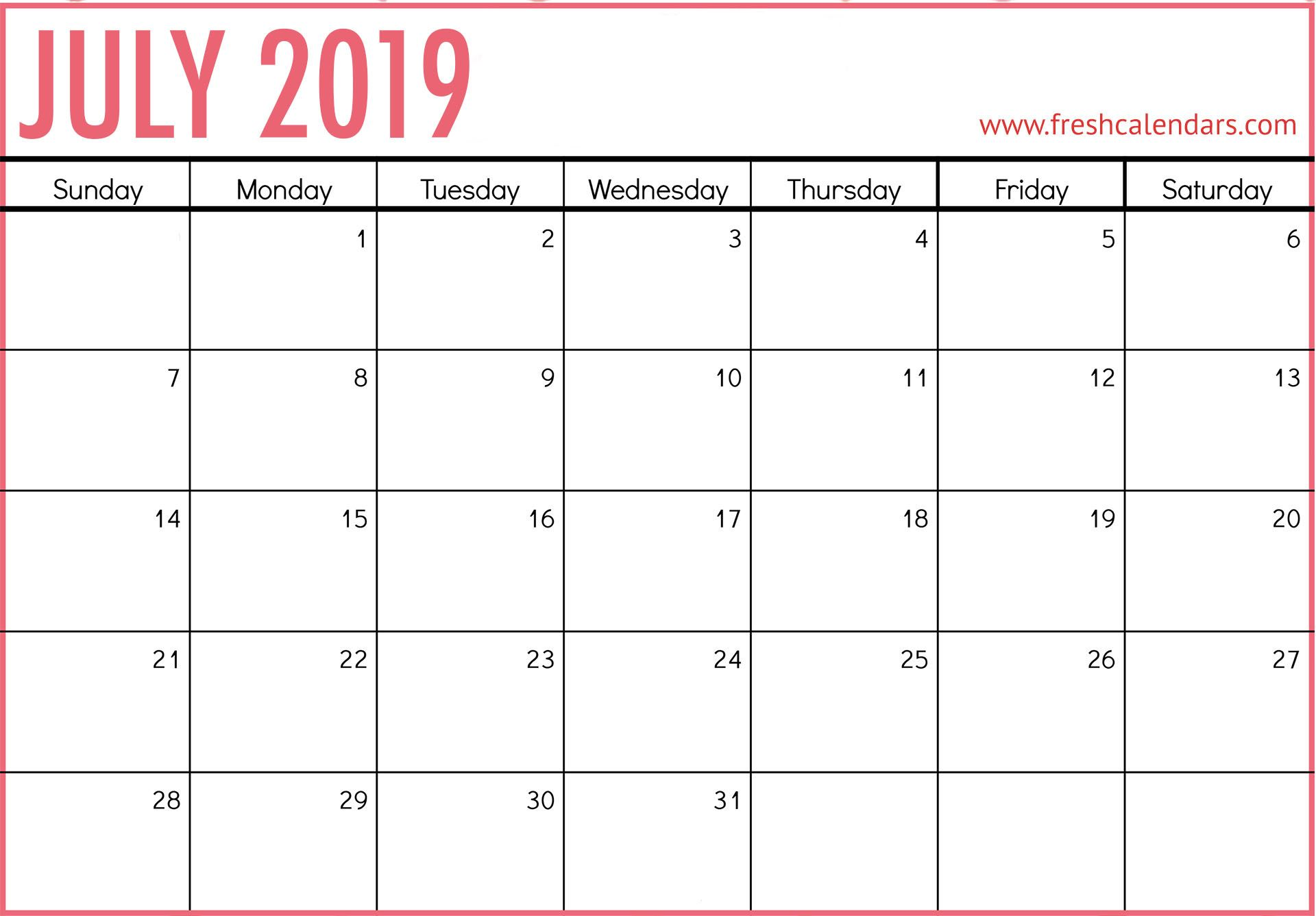Blank Calendar for July 2019 Calendar 2019 printable