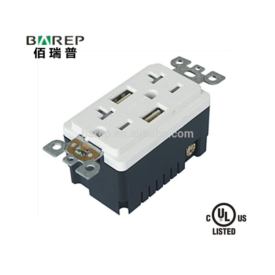 High Speed universal wall socket Dual USB Charger Receptacle USA ...