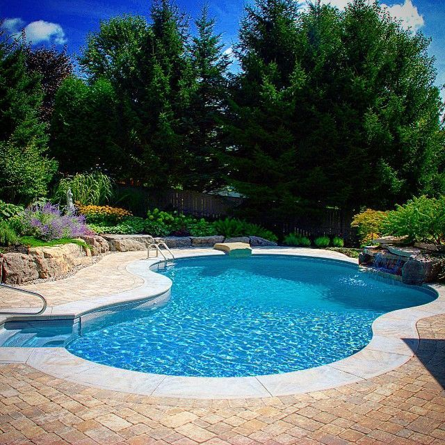 Beautifull landscaped backyard with miami inground pool for Pool designs for large backyards