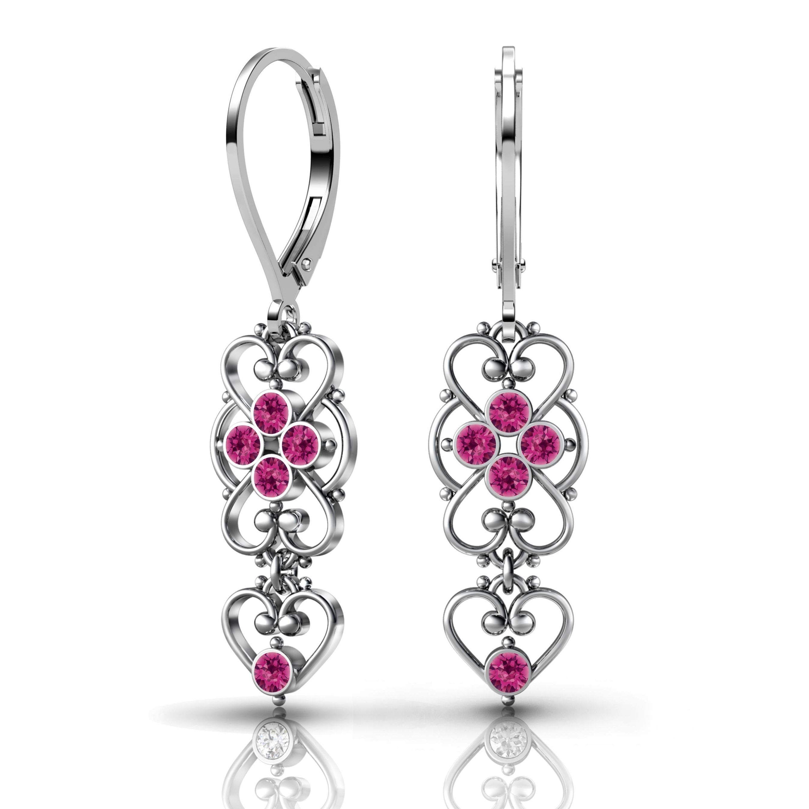 Lucia Costin .925 Sterling Silver Fuchsia Earrings