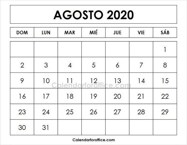 Agosto 2020 Calendario.August 2020 Calendar Spanish 2020 Calendar February