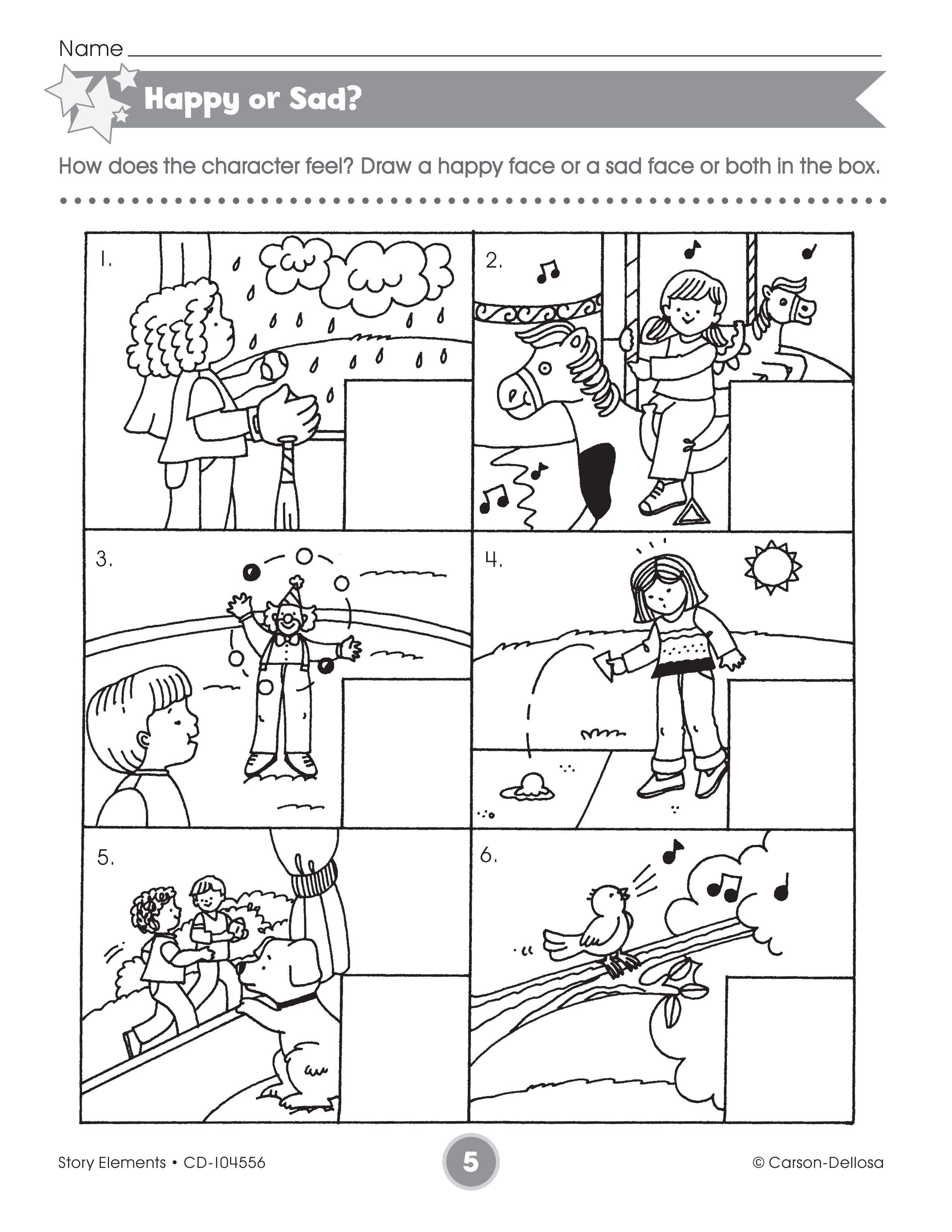 The Happy Or Sad Activity Sheet Helps Student Discern Scenarios