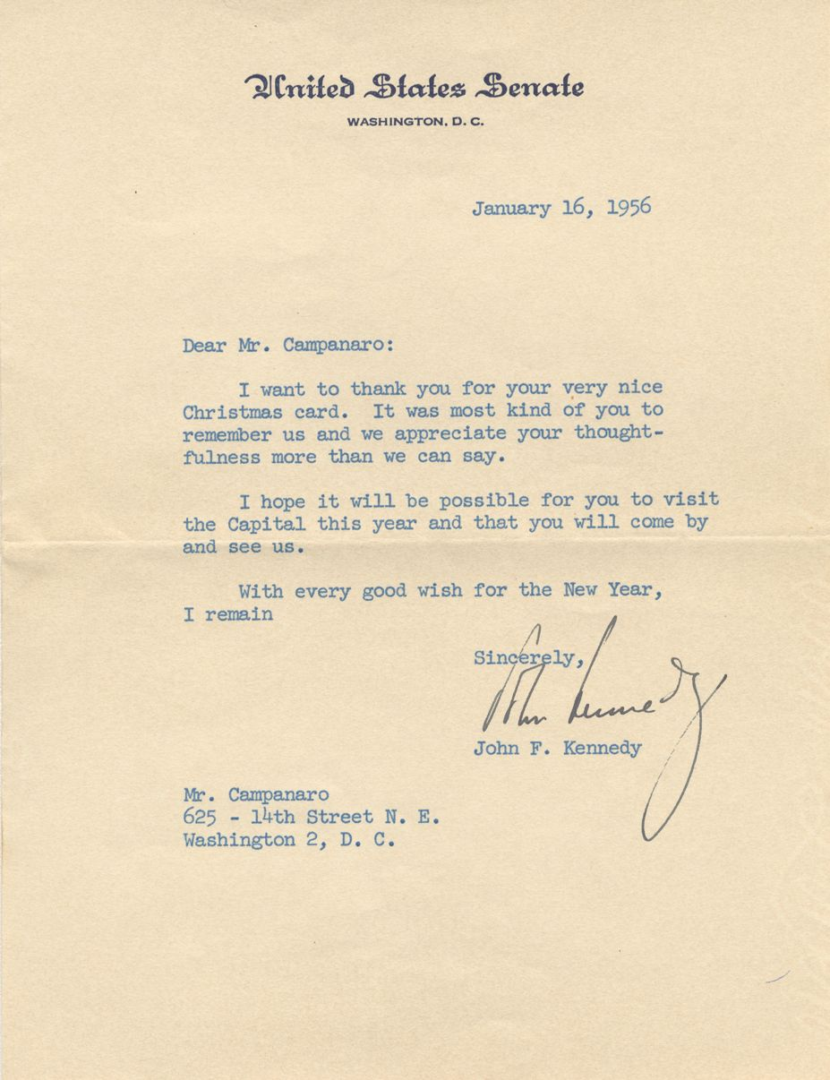 John F Kennedy Typed Letter Signed By Then Senator Kennedy To