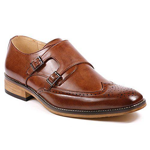 Men's Double Monk Strap Dress Shoes Wingtip Brogue Oxford Split Leather Slip-on Flats Loafers