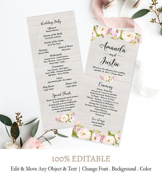 Wedding Program Template Floral Wedding Program Printable Wedding - Floral wedding program templates