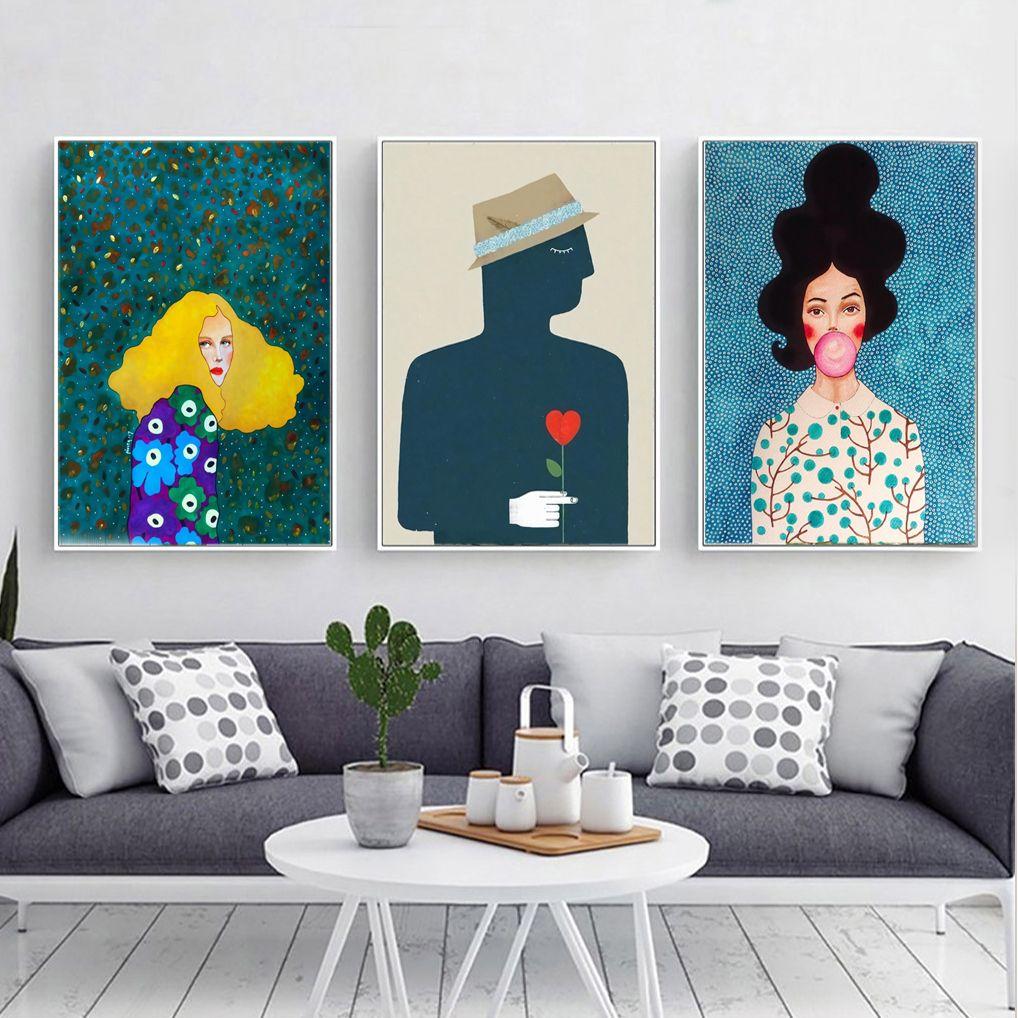 Cool Cartoon Portrait Canvas Print Wall Art Poster Airbnb Home Decor Sofa Cafe Office Hotel Bedroom Pa Canvas Art Painting Painting Canvas Wall Art