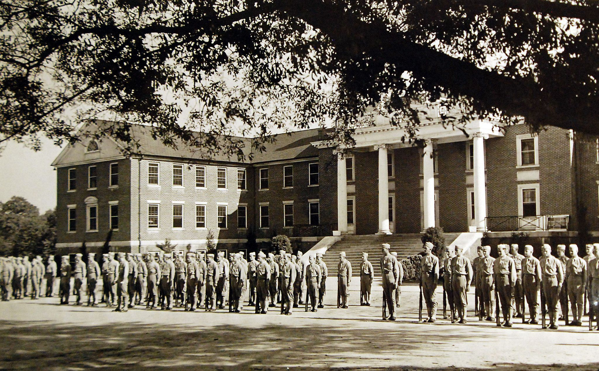 Lot-9993-7:  U.S. Navy Pre-Flight School, Athens, Georgia, July 1943.  Good military bearing is expected of all aviation trainees at the school.  Shown is a battalion formation in front of Langley Barracks.  U.S. Navy Photograph.  Courtesy of the Library of Congress.  (2016/05/19).