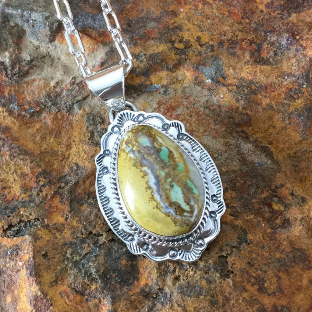 Boulder Turquoise Sterling Silver Pendant by J Piaso