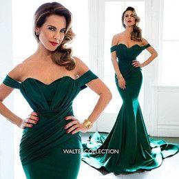 Cocktail dress off shoulder emerald