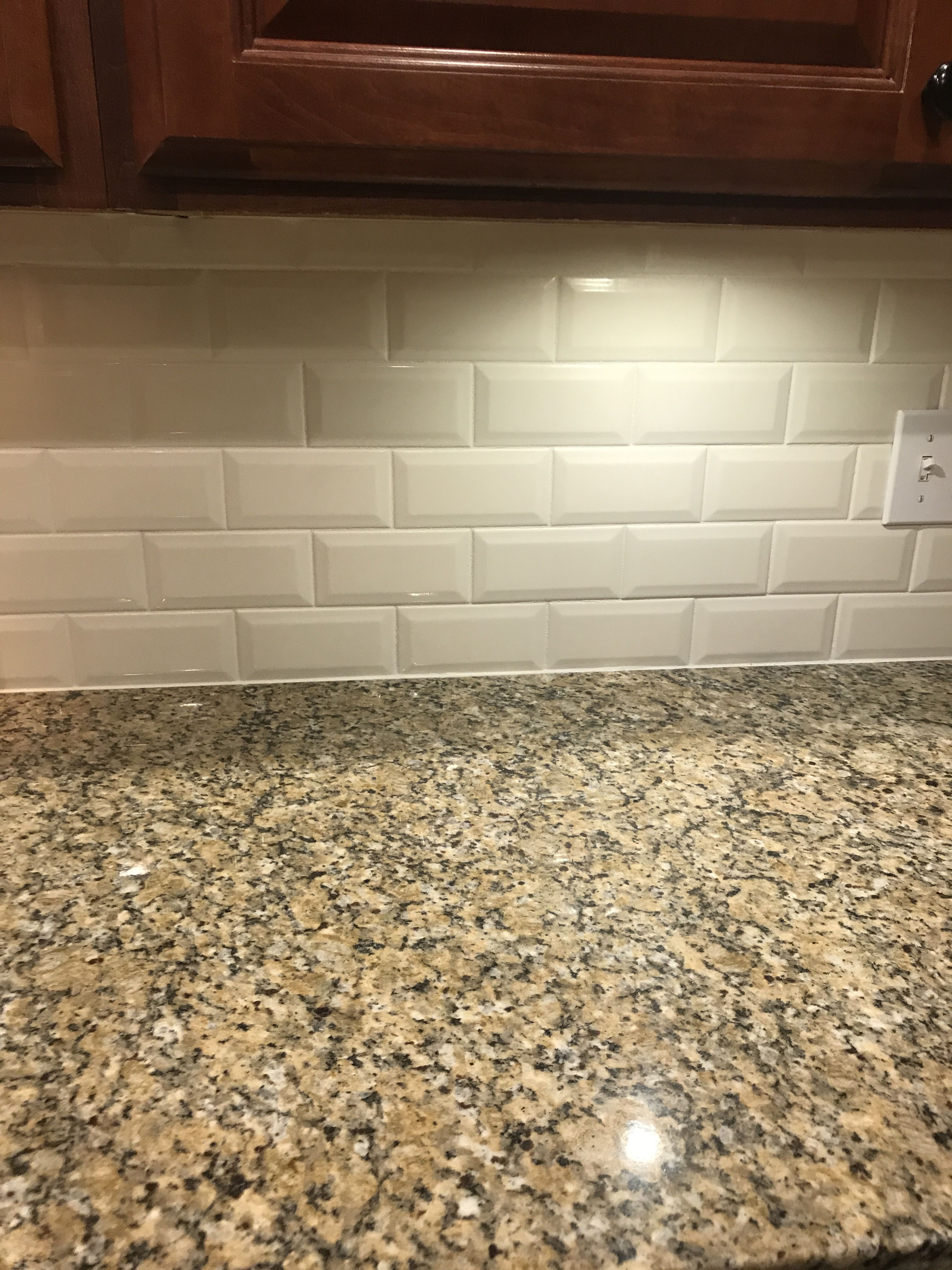 Almond Glossy Beveled Tile Wayfair Com With 1 16 White Grout