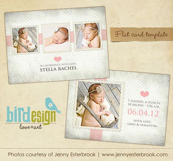 INSTANT DOWNLOAD Birth announcement template Sweet por birdesign - birth announcement template