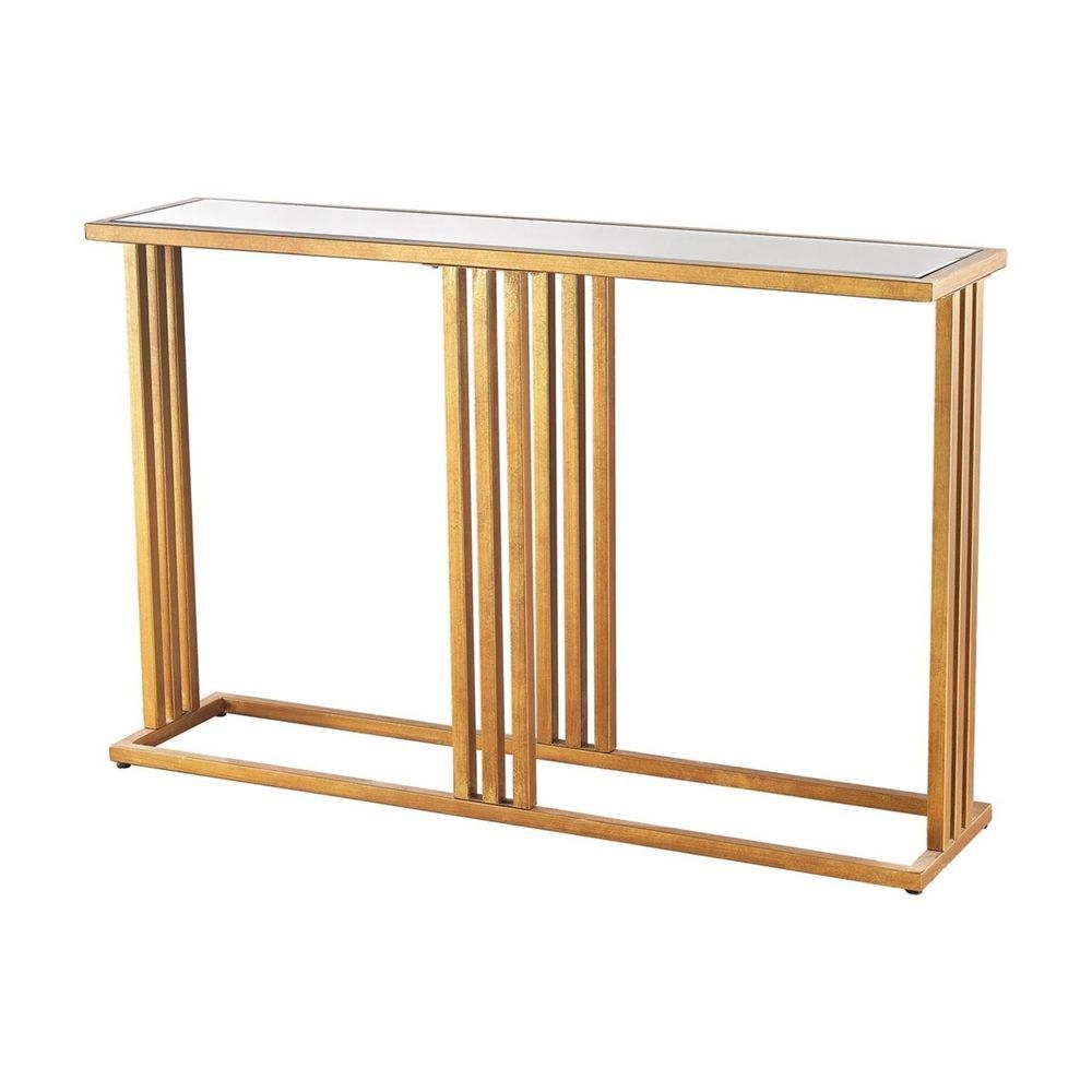 Slim Mirrored Console Table Gold With Clear Beveled Mirror Surface Modern New Diamond