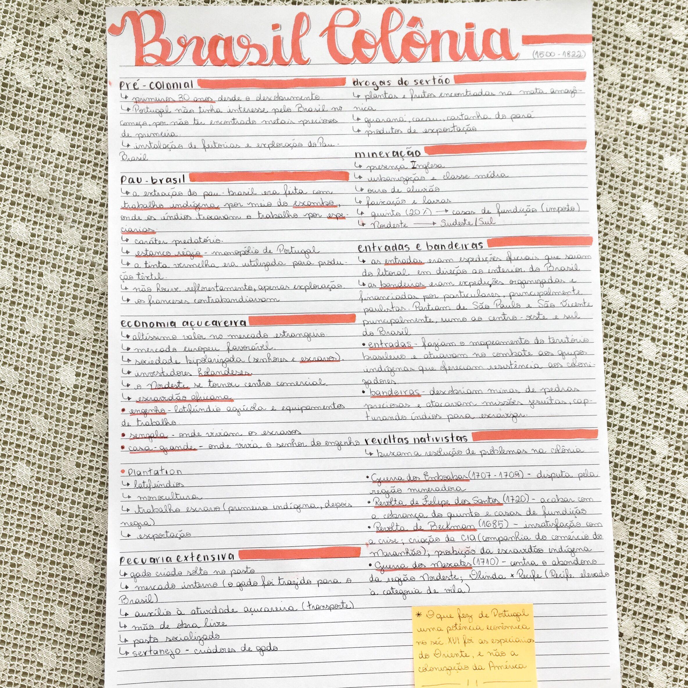 Brasil Colônia Estudos para o enem, Resumos enem, Resumo