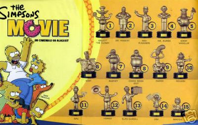 The Simpsons Movie Gold Figures Checklist Burgerking Simpsons Toys Burger King Burger