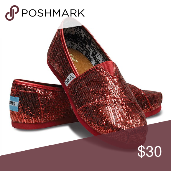 39f5449c8ad TOMS Red Glitter Youth Size 5 NEW Women s 7 Brand new youth toms size 5. No  box. These are size 7 in women s. The only thing different is the shoe size  ...
