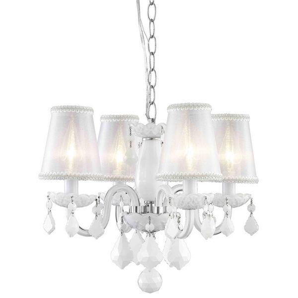 Somette 4-Light White Chandelier with Crystals and Shades