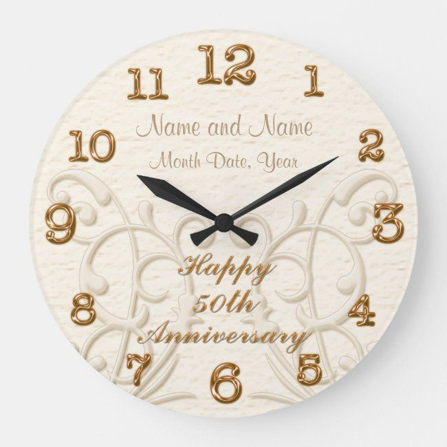 Personalized 50th Anniversary Gifts For Parents Large Clock Zazzle Com 50th Anniversary Gifts Anniversary Gifts For Parents Anniversary Gifts