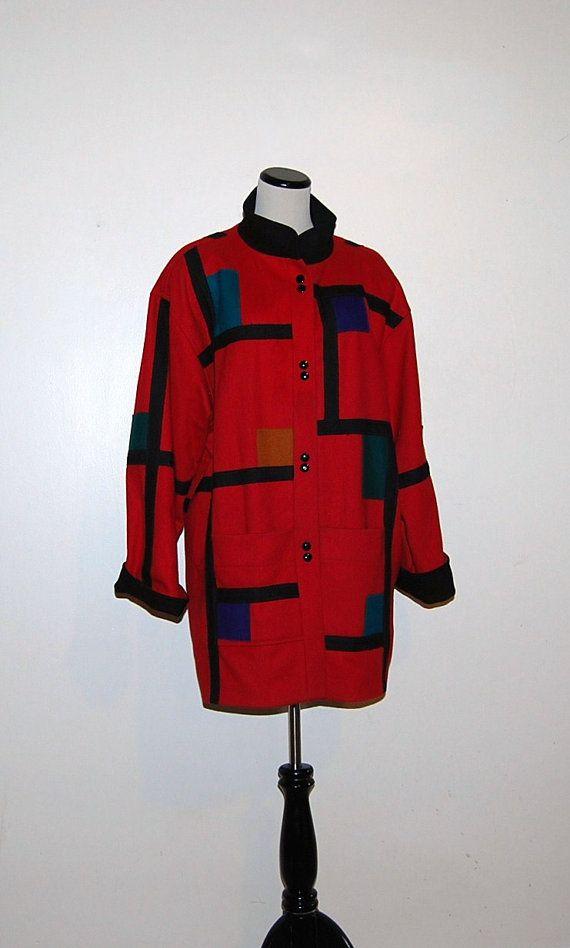Vintage Color Block Coat by CheekyVintageCloset on Etsy, $54.00