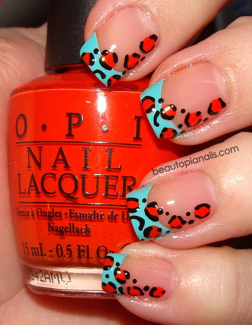 Colored French with leopard print! | Nails | Pinterest | Leopard ...