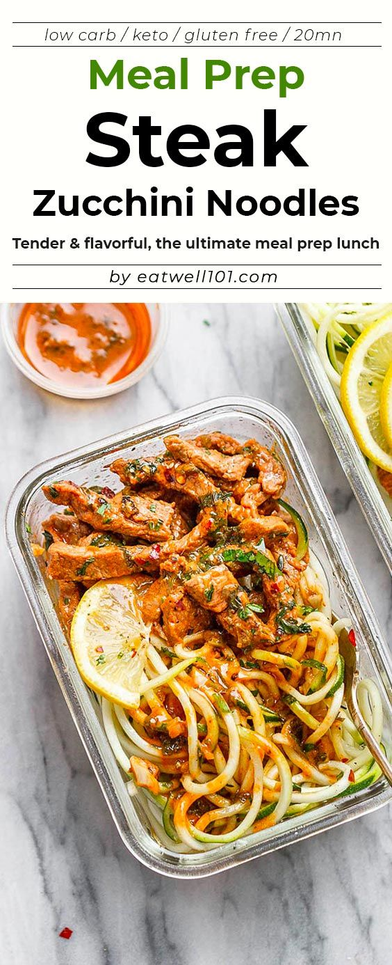 15 Minute Meal Prep Garlic Butter Steak with Zucchini Noodles images