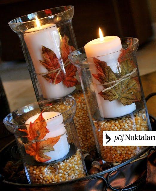 Mum,cam kase,kuru yaprak ve mısır ile orijinal bir mumluk önerisi! #herbstlichetischdeko
