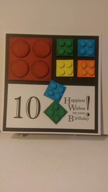 Boys Card # 27 - Lego Card. HANDMADE FOR YOU DESIGN. Pictured Card Size 6 x 6.