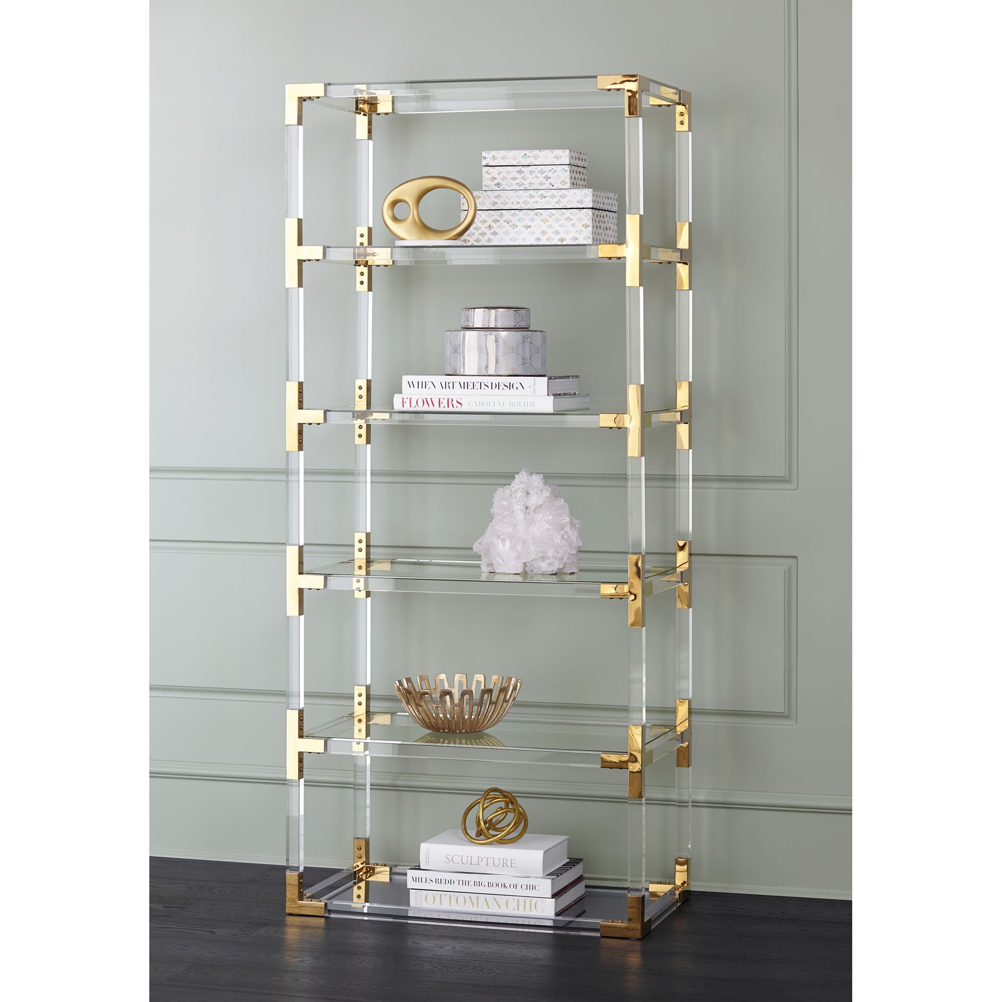 55 Downing Street Hanna 70 3 4 Clear Acrylic And Gold 6 Shelf Open Bookcase Walmart Com Open Bookcase Gold Shelves Shelves