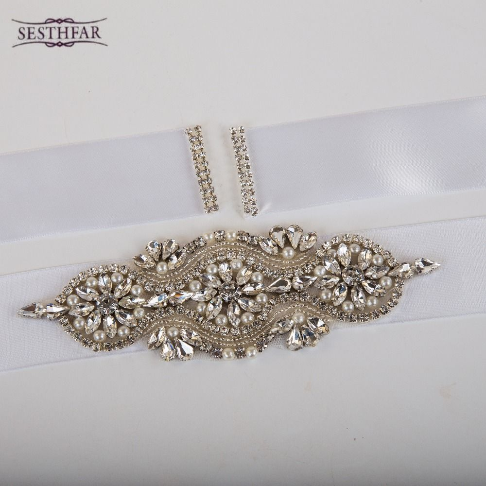 Handmade crystal bridal belt rhinestone pearl luxury wedding dress - Best Price Elegent Flower Style Crystal Bridal Sash Rhinestone Wedding Party Bride Bridesmaid Belt Dress Sash