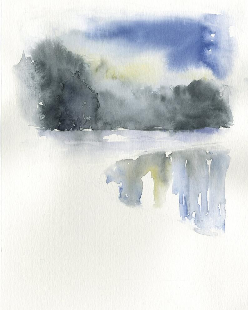 Abstract Landscape Art Blue Watercolor Wall Art Lake Wall Art