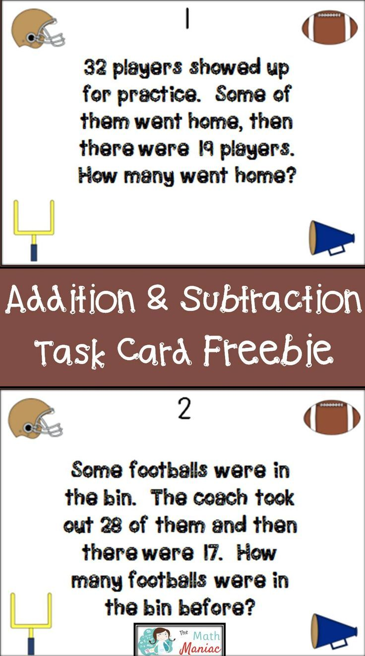 Addition And Subtraction Word Problems Football Freebie Subtraction Word Problems Word Problems Math Word Problems Double digit addition word problems