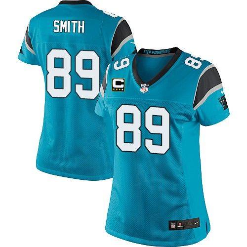 c patch nike nfl carolina panthers 89 steve smith elite alternate blue womens jersey