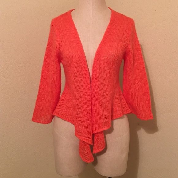 Wooden Ships Knit Cardigan Orange open front cardigan with longer ...