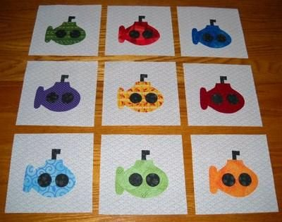 Set of bright submarine quilt top blocks quilting