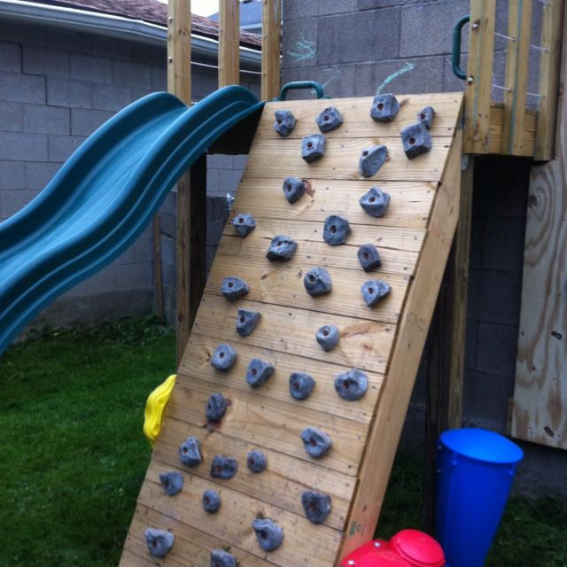 diy family climbing wall build this spring next to our slide kids will love this addi. Black Bedroom Furniture Sets. Home Design Ideas