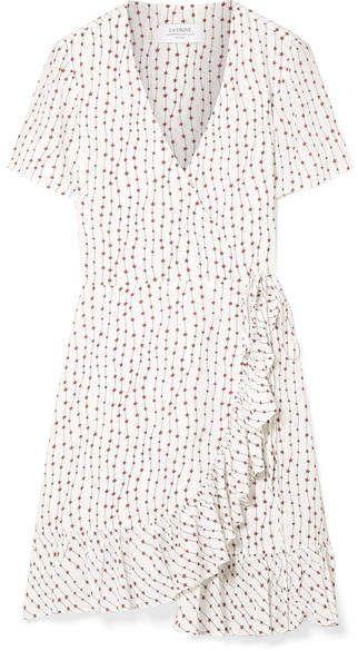 45d6afacd903 La Ligne - Printed Crepe Wrap Mini Dress - White | Aprons in 2019 ...