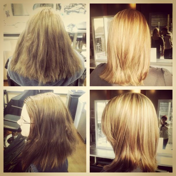 Before After Dark To Blonde Hair Using Highlights All Over