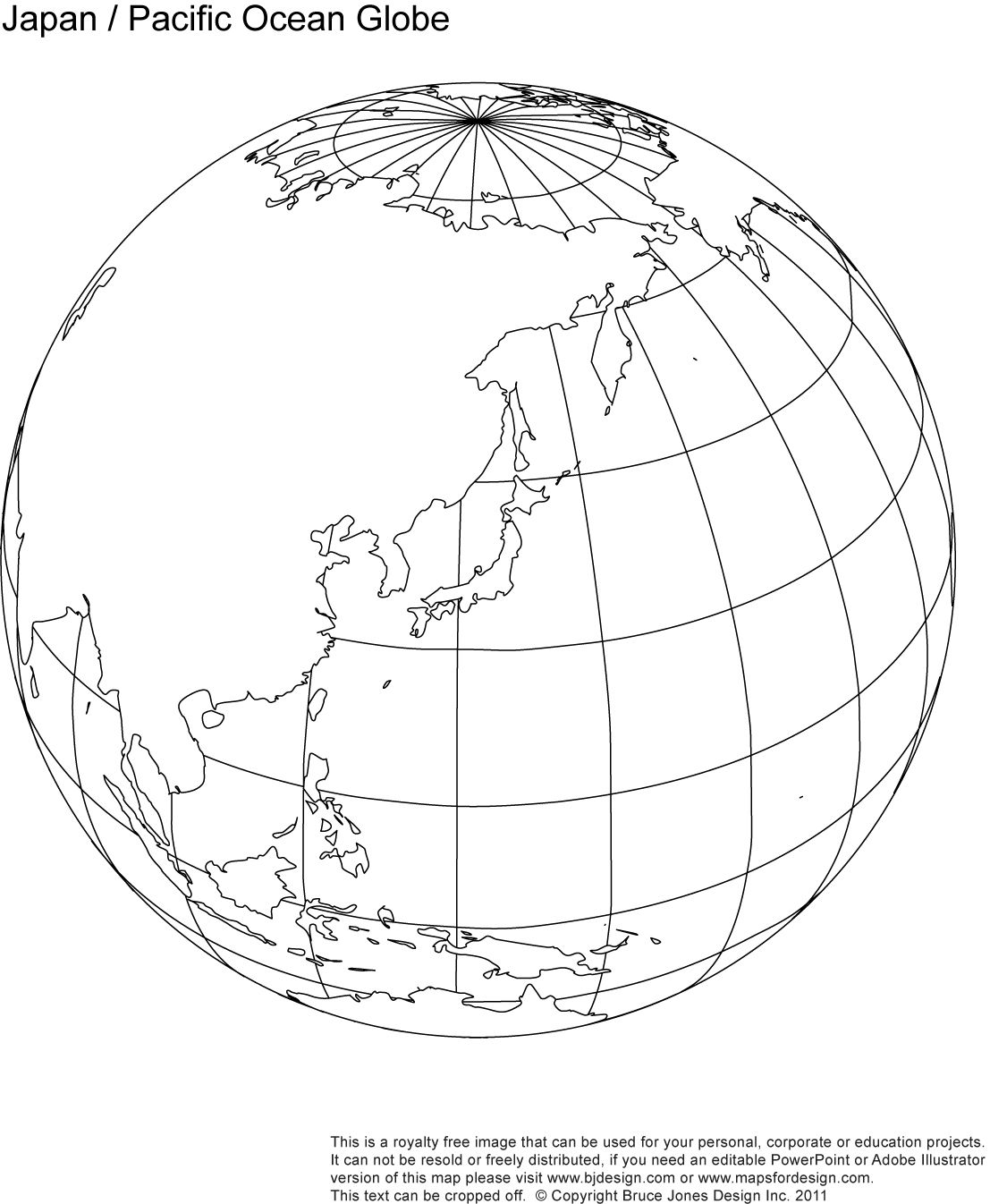 Japan Pacific Ocean Globe Map Blank Printable Outline