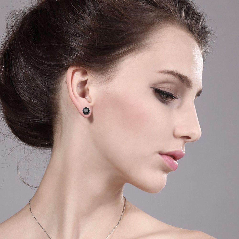 5 50 Ct Big 10mm Black Round Onyx Gemstone Birthstone Stud Earring C3115a838dt 14k White Gold Earrings Silver Earrings Dangle Sterling Silver Earrings Studs