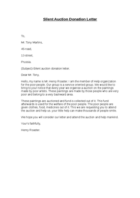 Silent Auction Donation Letter Template Charity Fundraising Sample