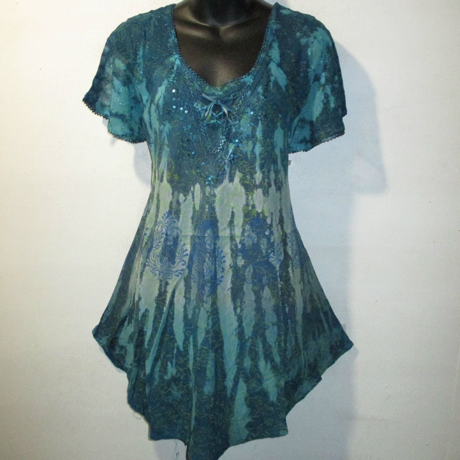 Green lace up dress  Top Fits X X X Plus Teal Blue Green Floral Tie Dye Lace Up A