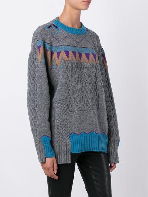 Sacai джемпер в стиле пэчворк   sweater   Вязание, Свитер ...