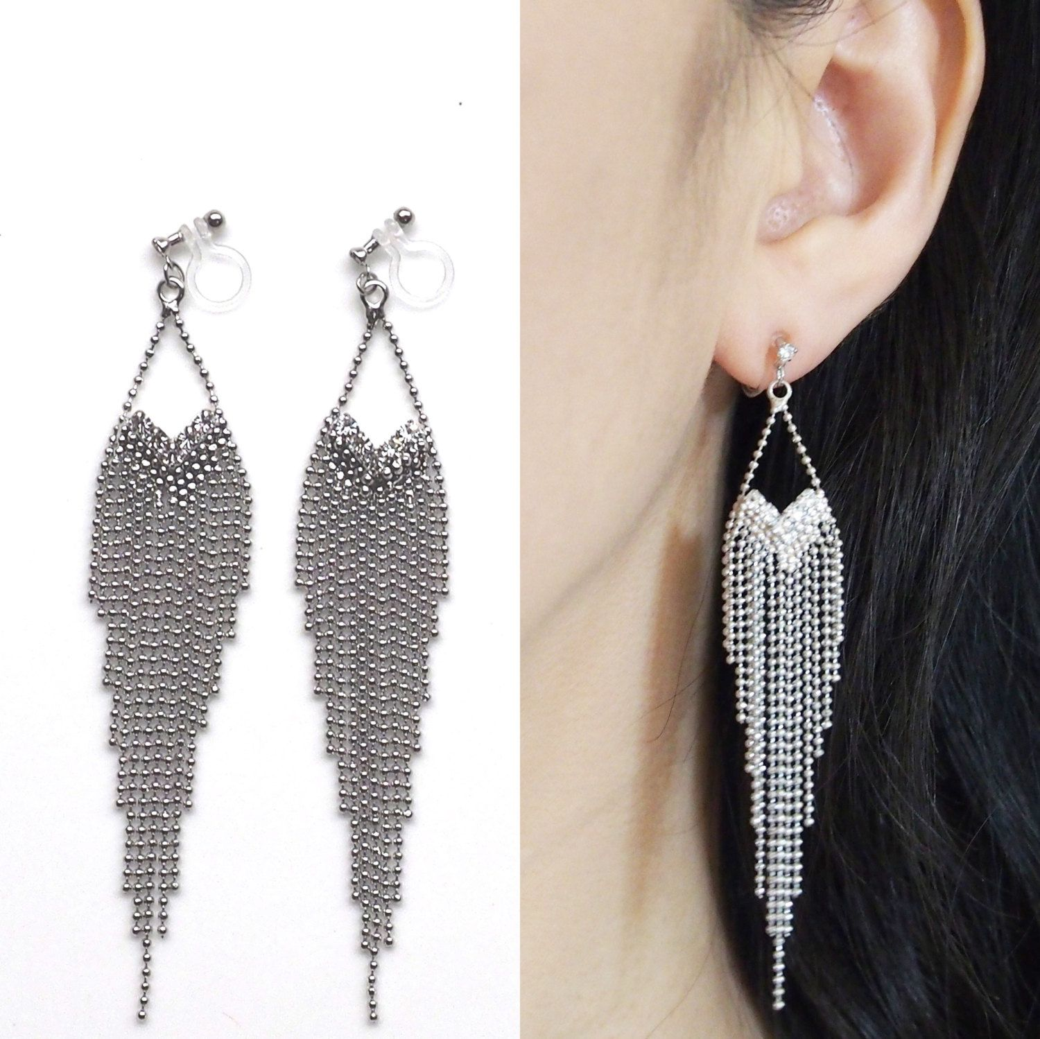invisible clip on earrings non pierced earrings Silver fringe clip on earrings long chain clip on earrings dangle clip on earrings