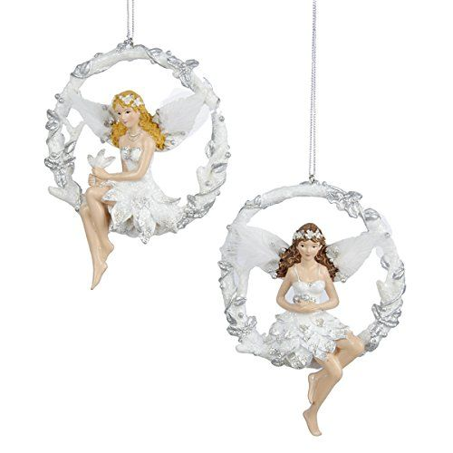 Silver White Fairy Ballerina Christmas Ornament on Wreath \u003e\u003e\u003e Want - outdoor angel christmas decorations