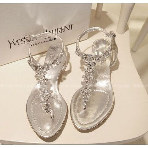 EU39 Silver Diamond Low Heel Flat Wedding Party Sandal Womens T ...