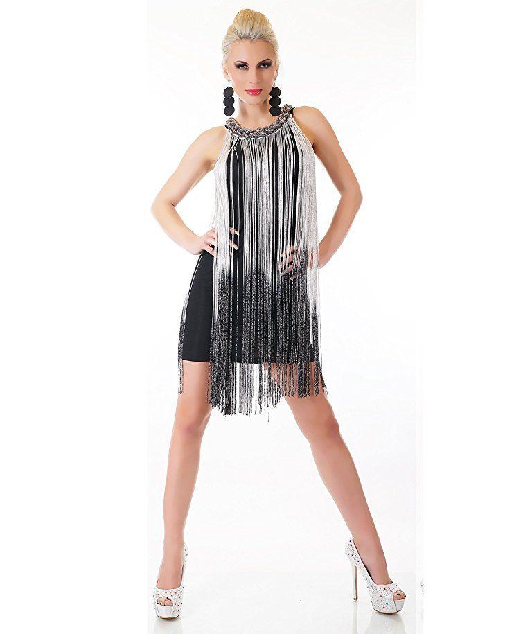 Etui Kleid kurz mit Faden Fransen Cocktailkleid Abendkleid Charleston Kleid  weiß S M  - 171bec0eca